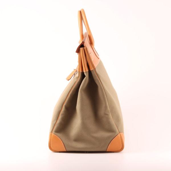 Imagen del lado 2 de la bolsa de viaje hermès haut à courroies lona militar verde piel natural