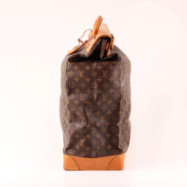 Imagen del lado 2 de la bolsa de viaje louis vuitton steamer bag 45 monogram piel natural