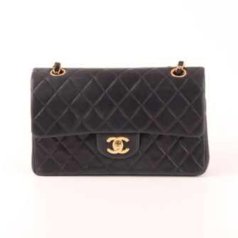 Frontal Image Chanel Timeless Double Flap Bag in navy blue.