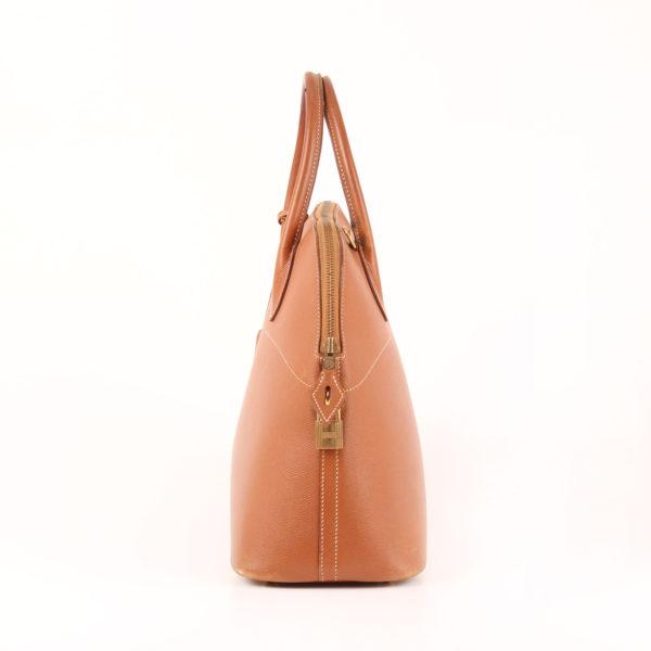 Imagen del lado 1 del bolso hermès bolide courchevel gold marrón