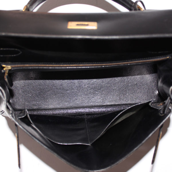 Imagen del forro del bolso hermès kelly 32 box calf negro
