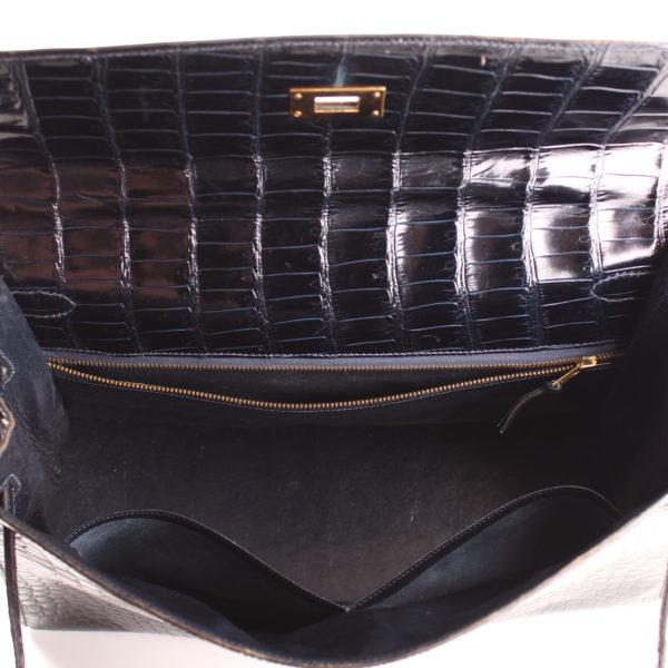 Imagen del forro del bolso hermès kelly 35 de cocodrilo porosus