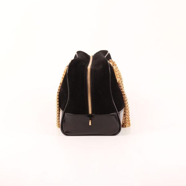 Imagen del lado 1 del bolso loewe amazona 28 edición especial suede negro cadena oro