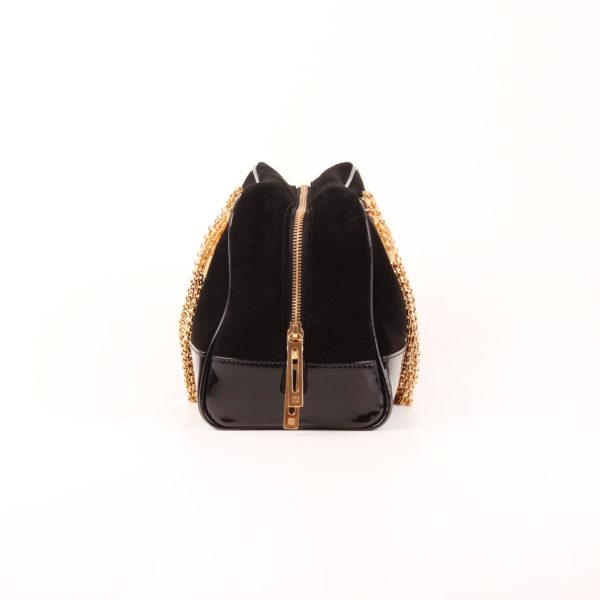 Imagen del lado 2 del bolso loewe amazona 28 edición especial suede negro cadena oro