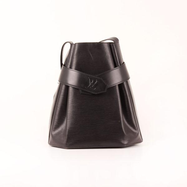 Imagen frontal del bolso louis vuitton d'épaule tote épi negro