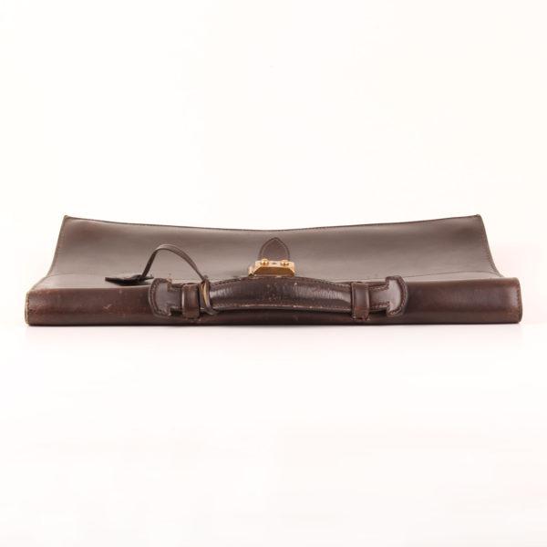 Imagen de la parte superior con asa de hermès cartera de mano sac à dépêche box calf marrón
