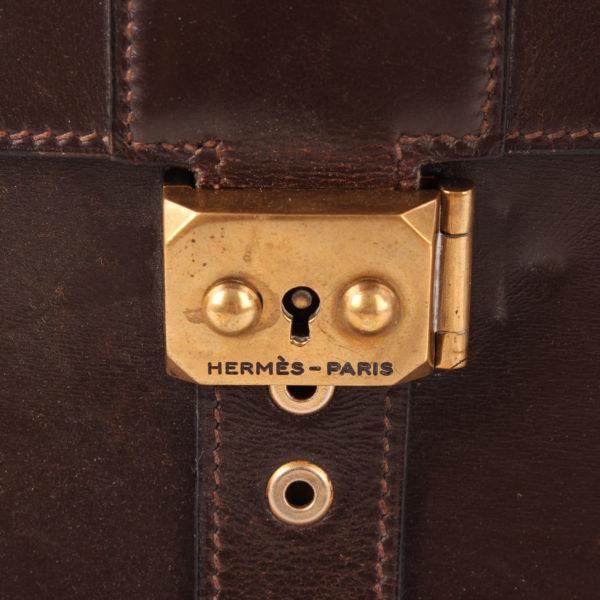 Imagen del cierre de hermès cartera de mano sac à dépêche box calf marrón