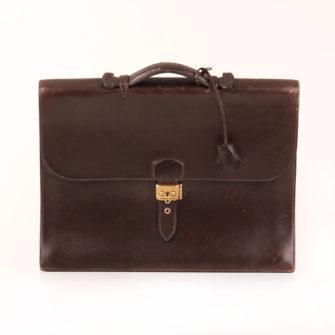 Imagen frontal de hermès cartera de mano sac à dépêche box calf marrón