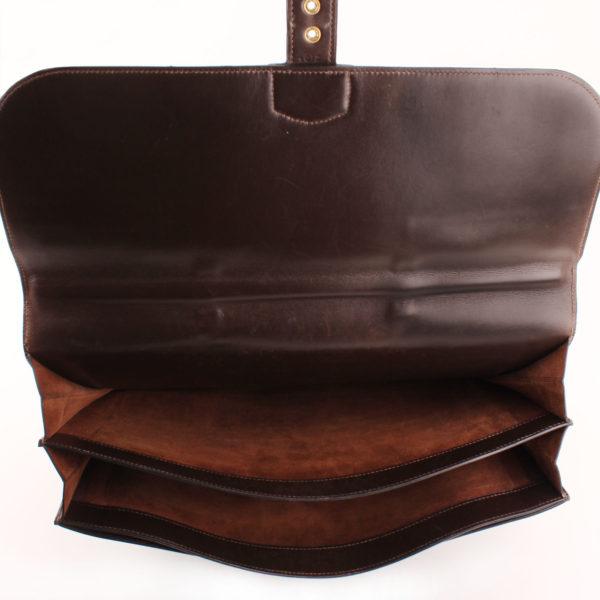 Imagen del interior de hermès cartera de mano sac à dépêche box calf marrón