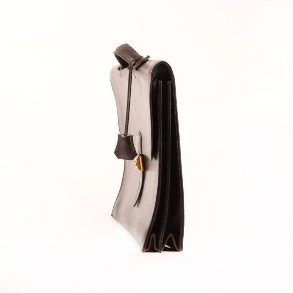 Imagen del lado 1 de hermès cartera de mano sac à dépêche box calf marrón