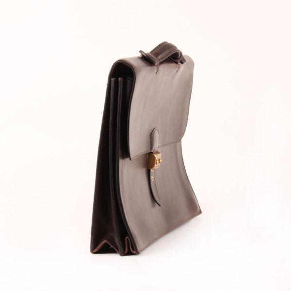 Imagen del lado 2 de hermès cartera de mano sac à dépêche box calf marrón