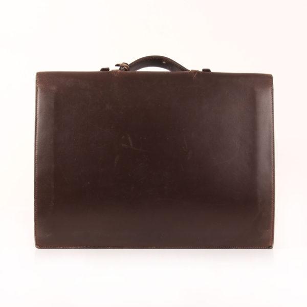 Imagen trasera de hermès cartera de mano sac à dépêche box calf marrón