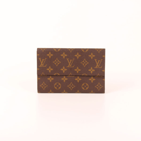 Imagen frontal de la billetera cartera louis vuitton monogram vintage solapa