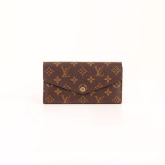 Imagen frontal de la billetera cartera louis vuitton sarah nm3 monogram