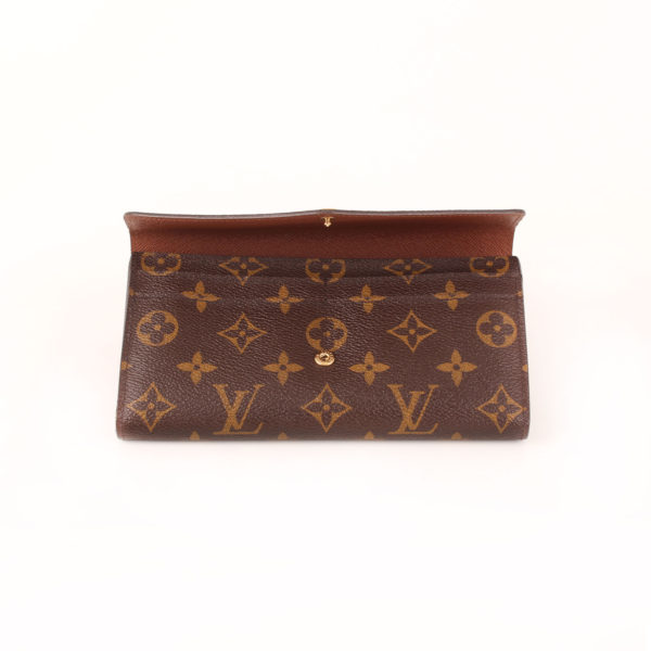 Imagen de la solapa de la billetera cartera louis vuitton sarah nm3 monogram
