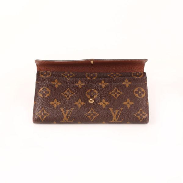 Imagen de la solapa de la billetera cartera louis vuitton sarah nm3 monogram