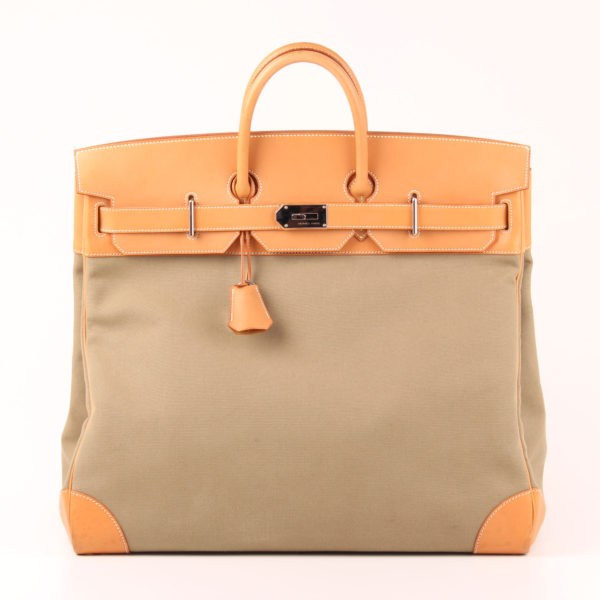 Front image from travel bag hermès haut à courroies green canvas natural leather