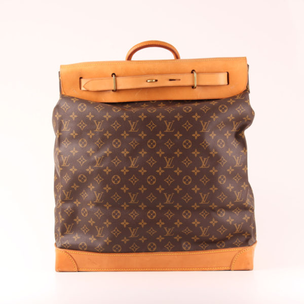 Front image of louis vuitton steamer travel bag 45 monogram natural leather