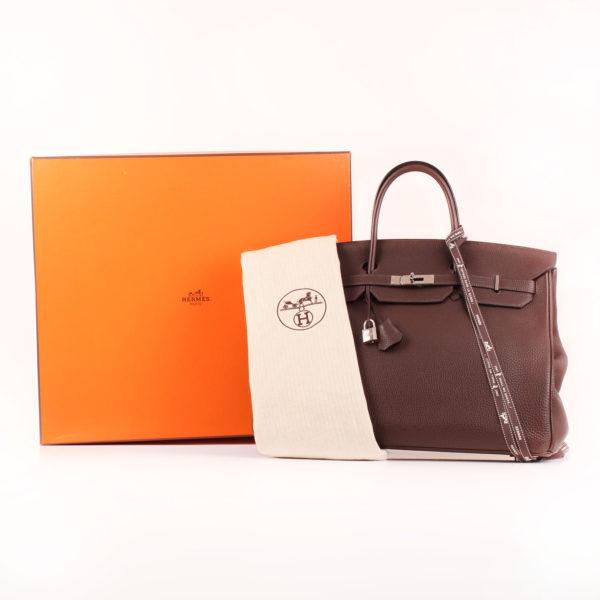 Image del bolso hermès birkin 40 marron con la funda y la caja