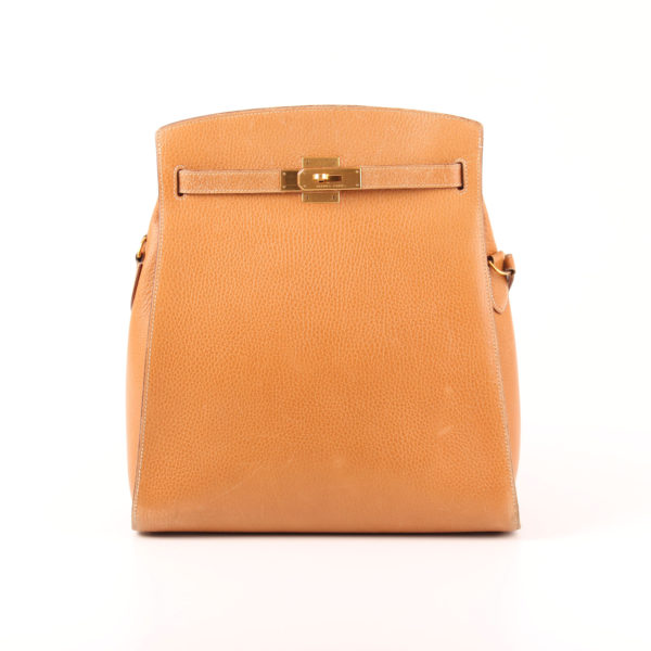 Front image from hermès bag kelly sport togo beige gold hardware