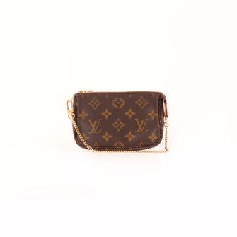 Imagen frontal del bolso louis vuitton mini pochette accessoire monogram cadena
