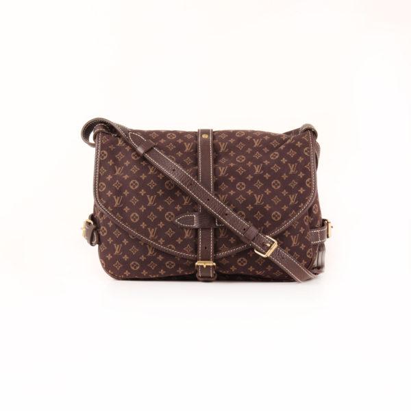 Imagen del bolso louis vuitton saumur mini lin monogram ebony marrón con bandolera