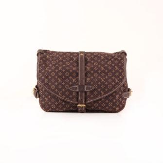 Imagen frontal del bolso louis vuitton saumur mini lin monogram ebony marrón
