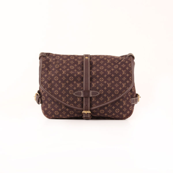Imagen frontal del bolso louis vuitton saumur mini lin monogram ebony marrón