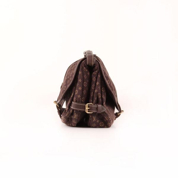 Imagen del lado 2 del bolso louis vuitton saumur mini lin monogram ebony marrón