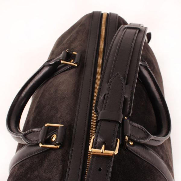 Imagen de la cremallera del bolso louis vuitton sofia coppola mm suede asphalt negro