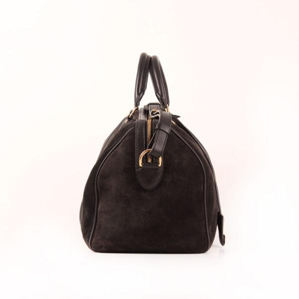 Imagen del lado 2 del bolso louis vuitton sofia coppola mm suede asphalt negro
