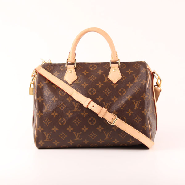 Image of louis vuitton bag speedy 30 monogram with strap band natural leather