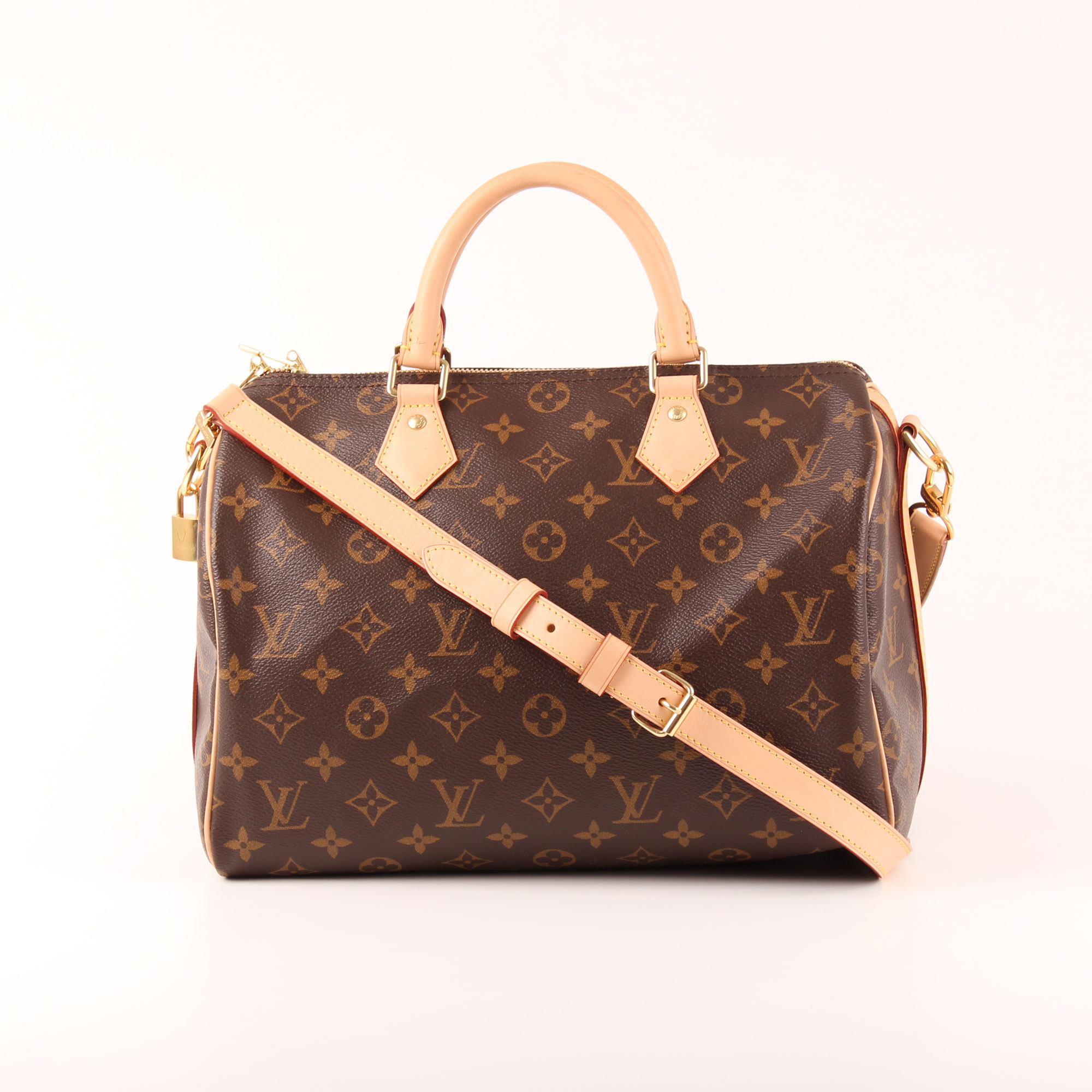 a6c978f3961b Image of louis vuitton bag speedy 30 monogram with strap band natural  leather