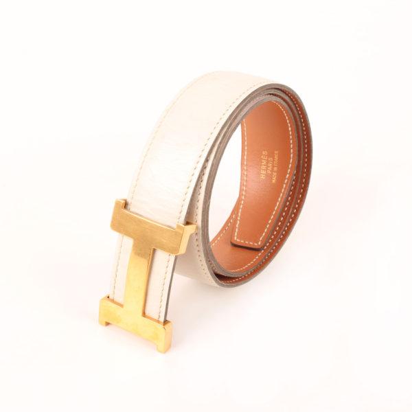 Imagen del cinturón H hermès gold blanco herrajes dorados box calf