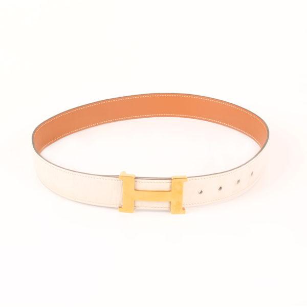 Imagen del cinturón como en cintura H hermès gold blanco herrajes dorados box calf