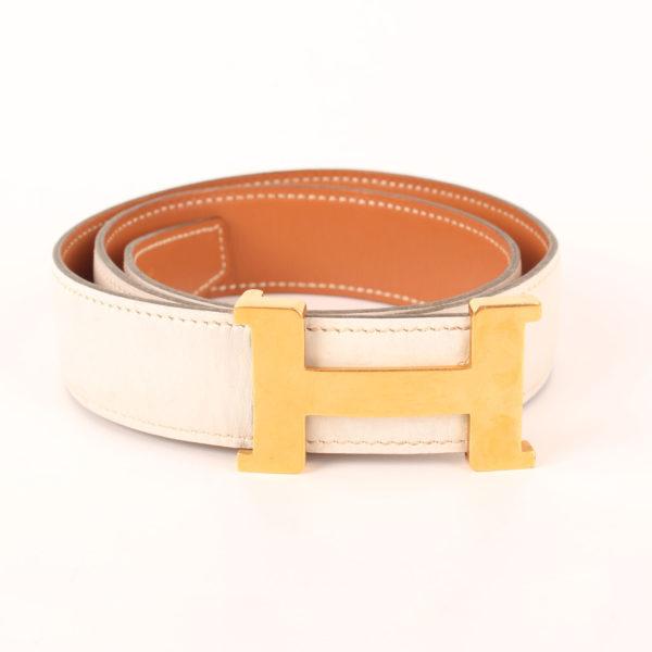 Imagen de la hebilla del cinturón H hermès gold blanco herrajes dorados