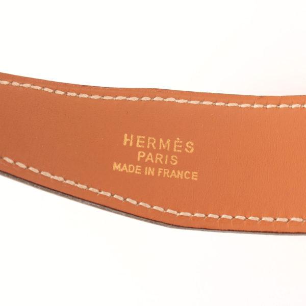 Imagen de la marca del cinturón H hermès gold blanco herrajes dorados