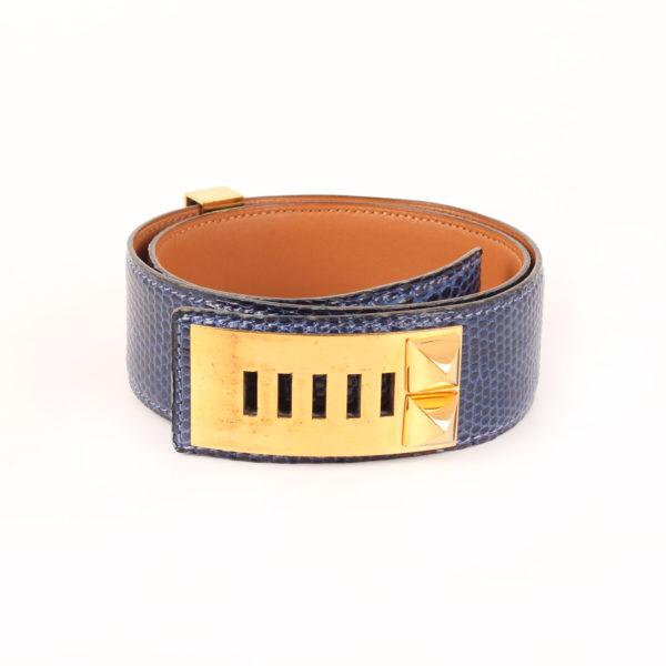Imagen de la hebilla del cinturón hermès medor lagarto azul abysse collier chien oro