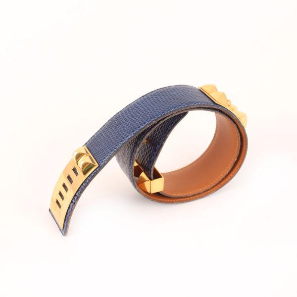 Imagen del cinturón hermès medor lagarto azul collier enrollado