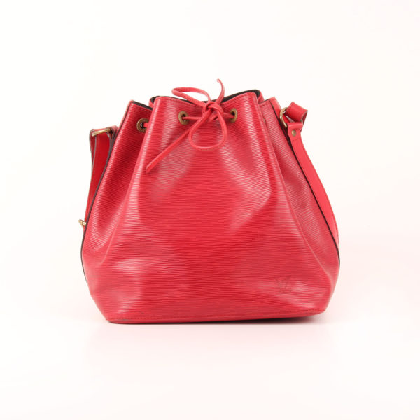 Front image of louis vuitton noé bucket bag épi petit red