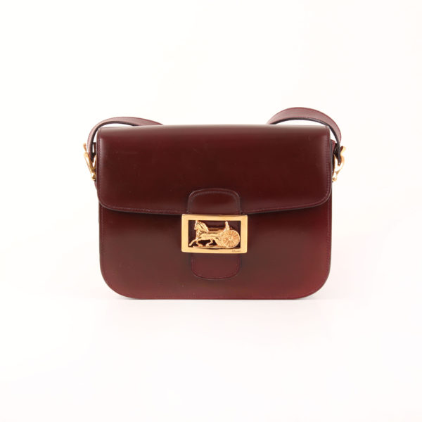 Front image of céline vintage box bag calèche burgundy gold hardware