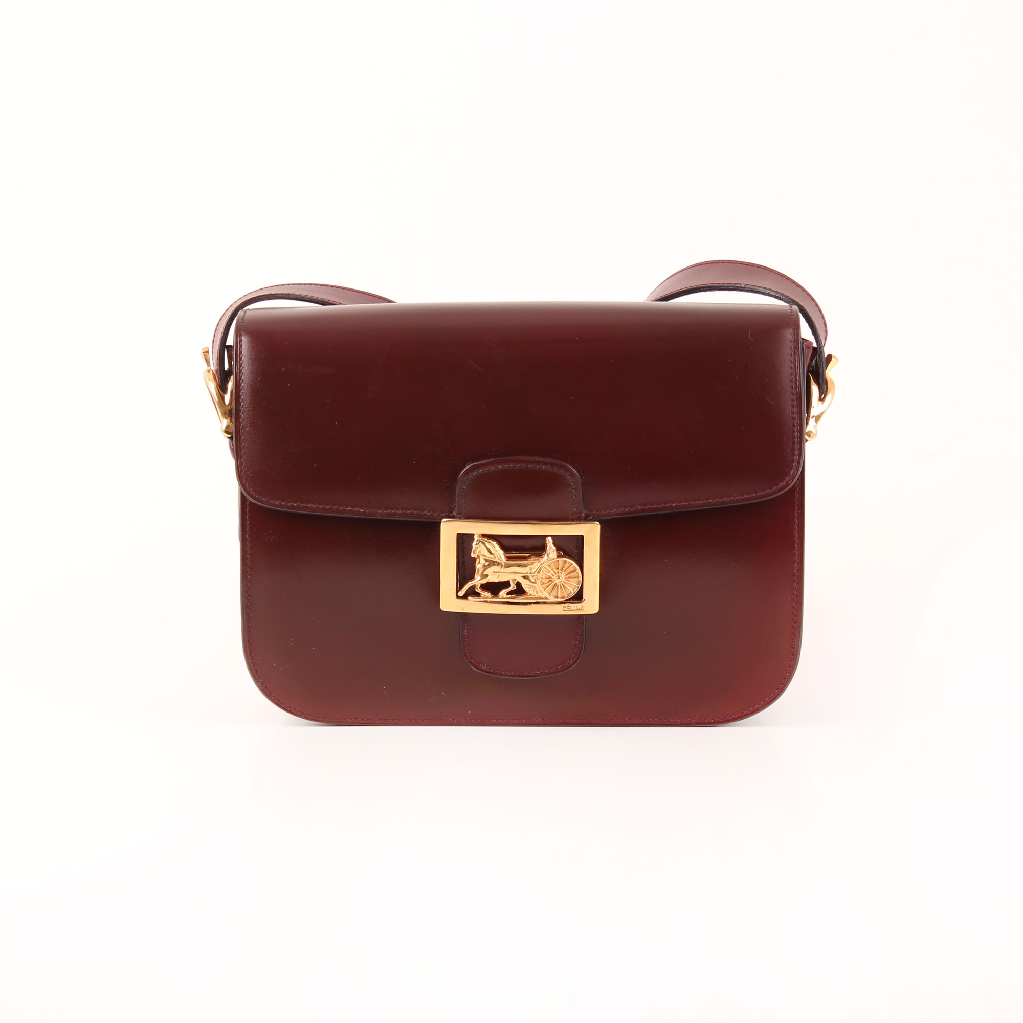 104835a938 Front image of céline vintage box bag calèche burgundy gold hardware