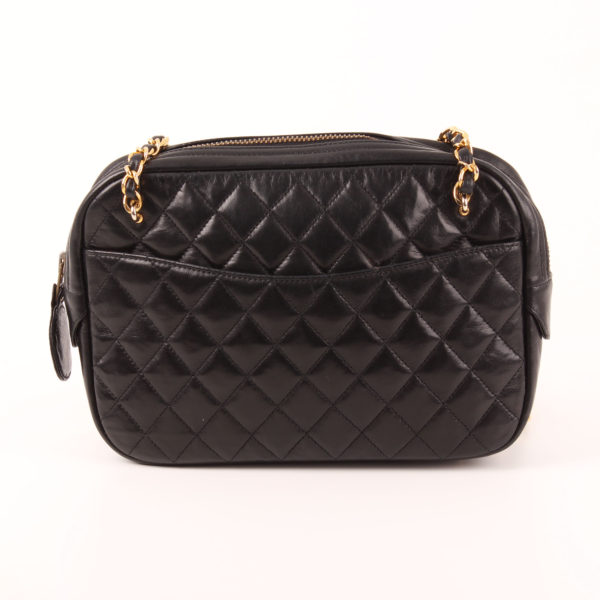 Front image of chanel camera bag lambskin black double chain gold