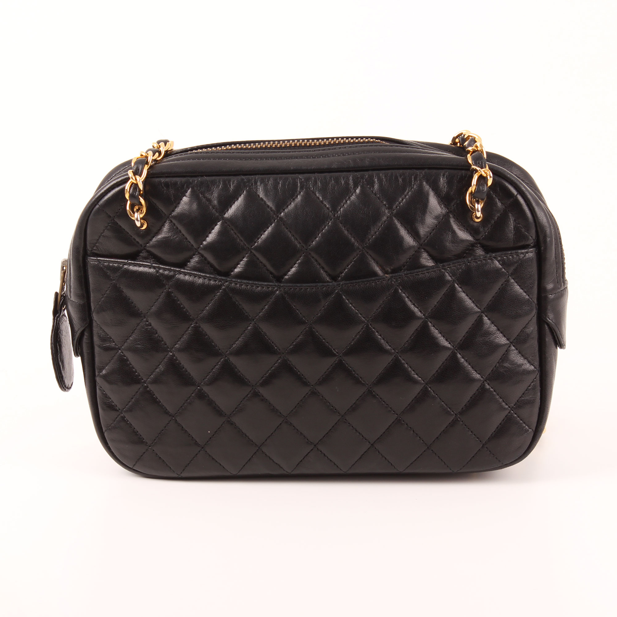 44ba0d9da30f78 Front image of chanel camera bag lambskin black double chain gold