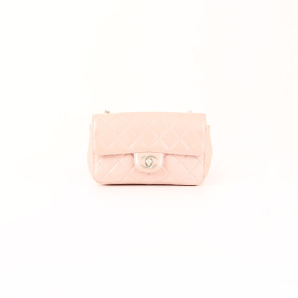 Front image from chanel classic flap bag nacre pink