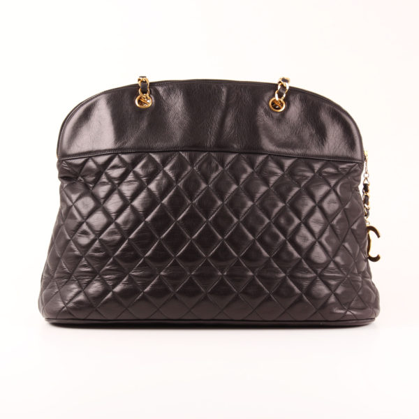 Front image of chanel large classic shoulder bag black quilted lambskin gold chain