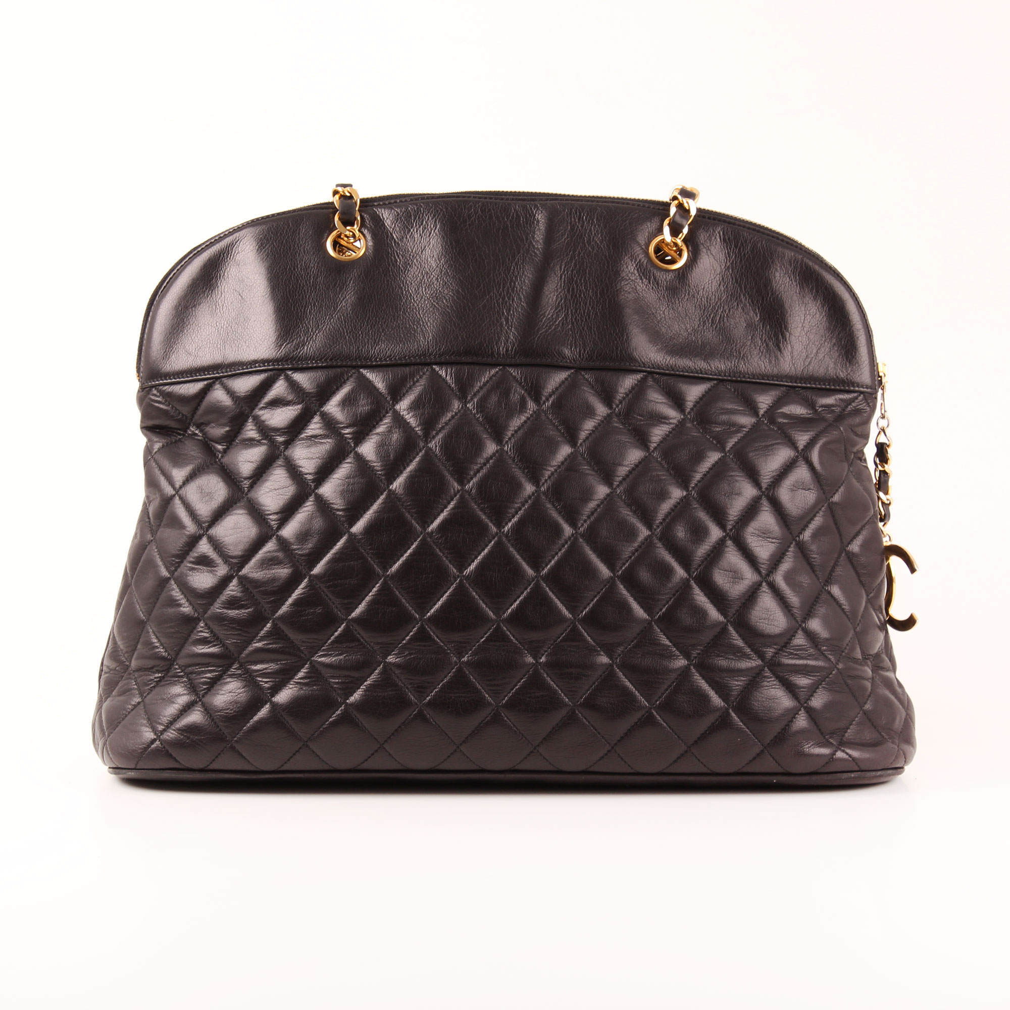 c00ae06c2089 Front image of chanel large classic shoulder bag black quilted lambskin  gold chain