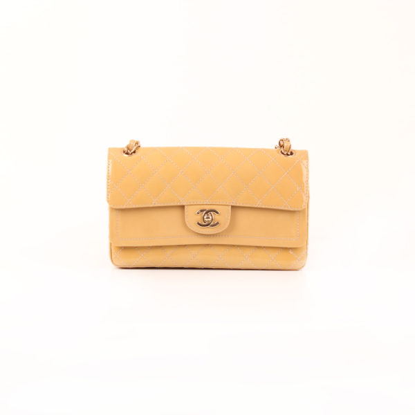 Front image of chanel timeless double flap bag patent leather yellow