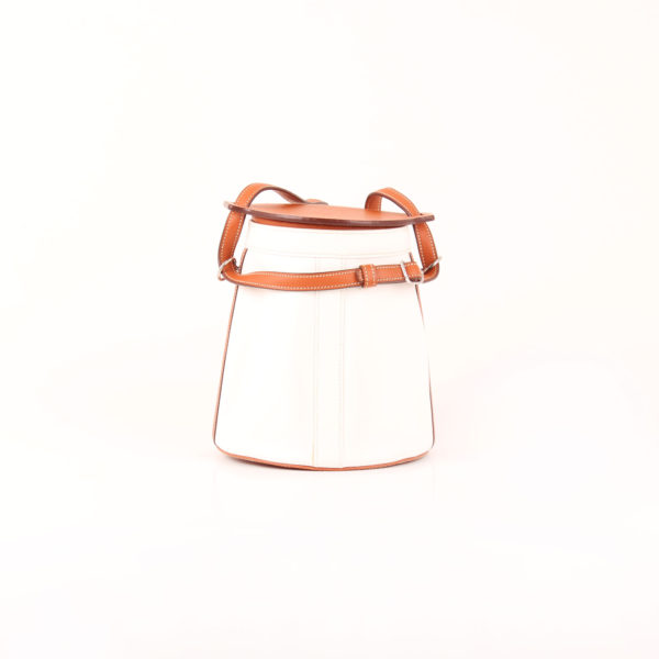Front Image of tupperware hermès farming basket bag white epsom gold