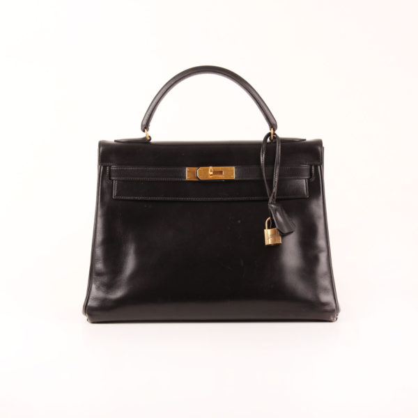Frontal Image from hermès kelly bag 32 box calf in black